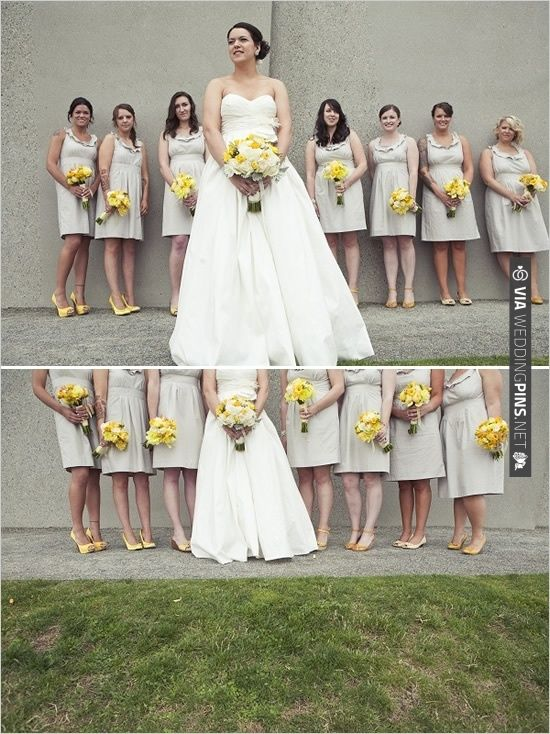 these yellow flowers look so lovely with these bridesmaid dresses ...