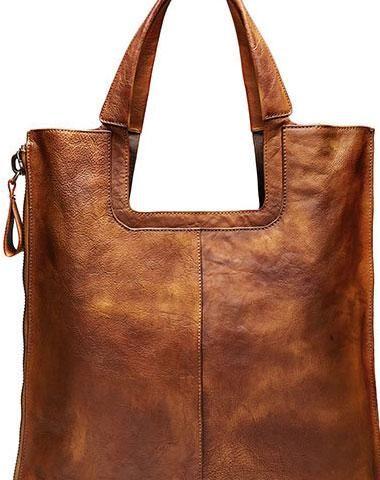 Handmade Leather Handbag Vintage Shoulder Bag Large Tote For Women Men Per