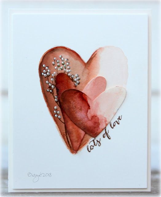 Here´s my card for the challenge Heart at CAS Watercolour Card challenge I used watercolours for the hearts and stamps from Pen...