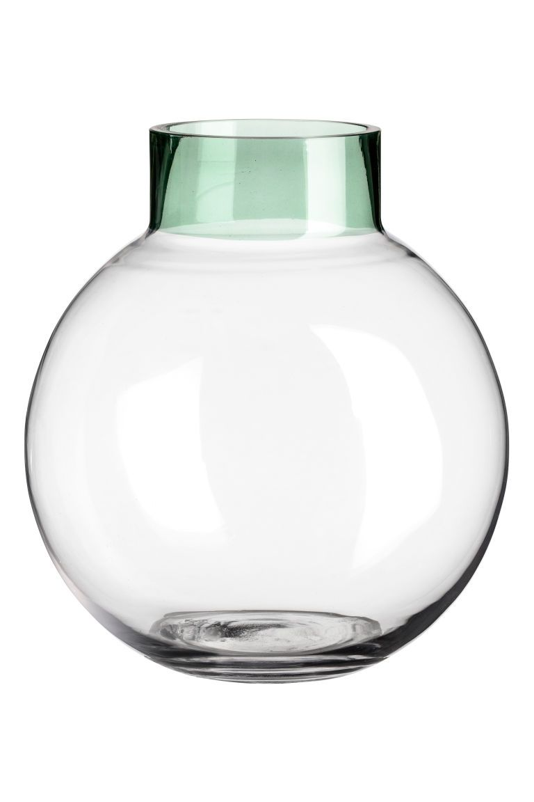 Round glass vase transparent green home all hm us 1