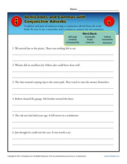 45++ Advanced semicolon and colon worksheet Awesome