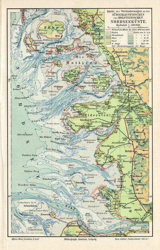 SCHLESWIG HOLSTEIN NORTH SEA Meyers 1895.