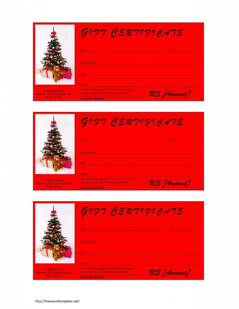 Christmas Gift Certificate Template Free Microsoft Word Templates