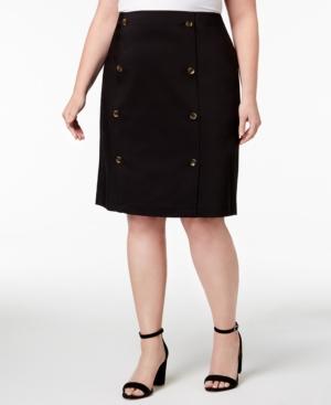 fa0a943a4423 Calvin Klein Plus Size Button-Front Pencil Skirt - Black 18W ...