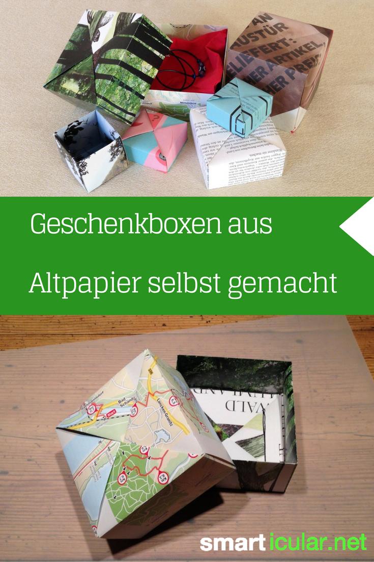 schenken ohne verpackungsm ll faltschachtel aus altpapier schenken pinterest verpackung. Black Bedroom Furniture Sets. Home Design Ideas