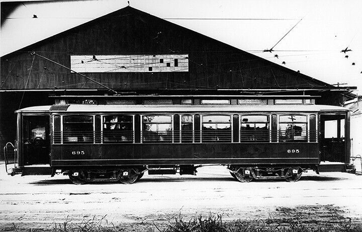 Carrollton Station at 8201 Willow St, 1920, standard gauge Palace Car for service on St. Charles/ Tulane Belt