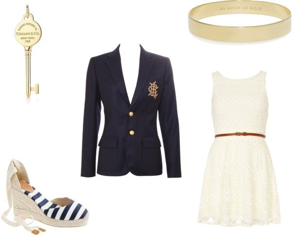 Navy, gold, and ivory