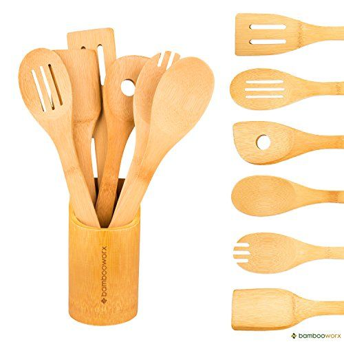 BambooWorx Bamboo Cooking Utensils Set  6 Pieces + Holder, Wooden Spoons U0026  Spatulas,