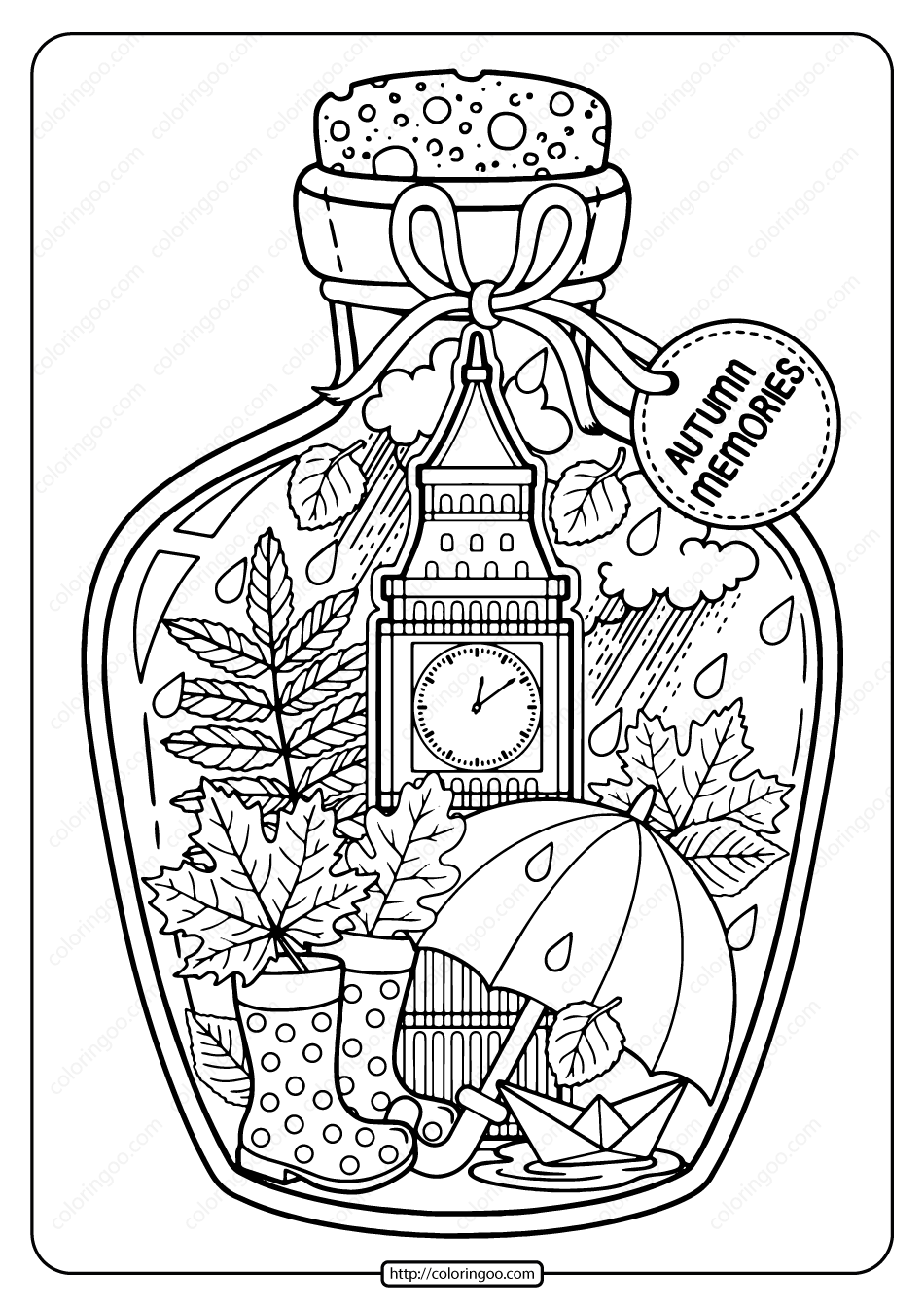 Printable Autumn Memories Pdf Coloring Page Witch Coloring Pages Printable Coloring Book Coloring Pages