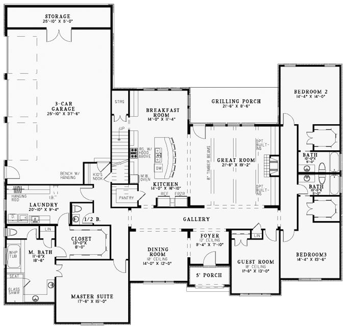 European Style House Plan 82163 with 4 Bed, 5 Bath, 3 Car ... on ranch home plans with carport, ranch home plans with large kitchen, ranch home plans with pool, ranch home plans with hearth rooms, log home with 4 car garage, ranch home plans with office,