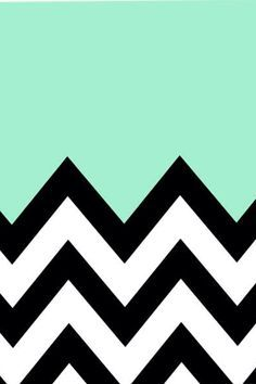 Aqua and black and white chevron wallpaper