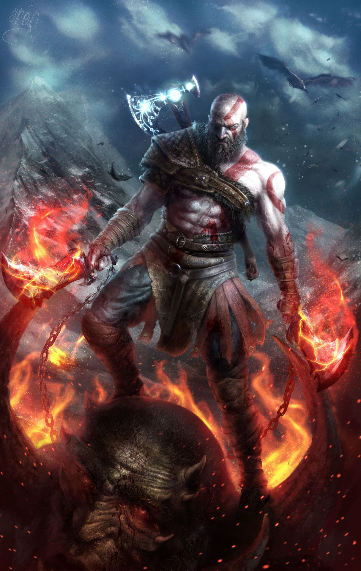 Old Weapons Kratos God Of War Kratos The God Of War Dios De La
