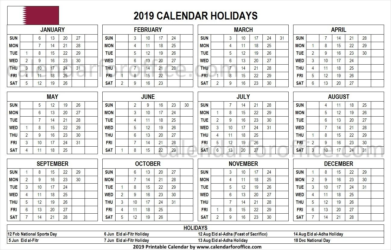 2019 Calendar Qatar Holidays Holiday Calendar Calendar Template