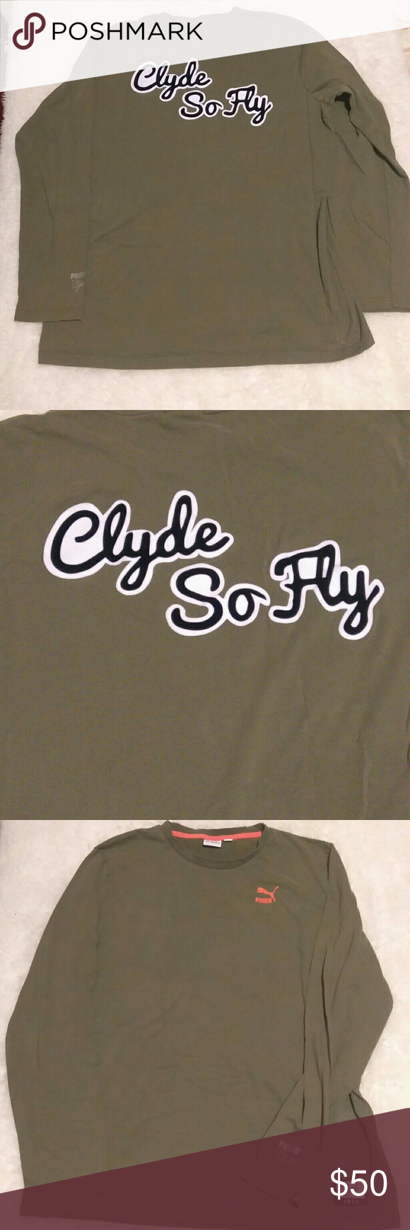 1e53a3550 Puma Clyde So Fly Long Sleeve Excellent used condition olive green puma long  sleeve t-