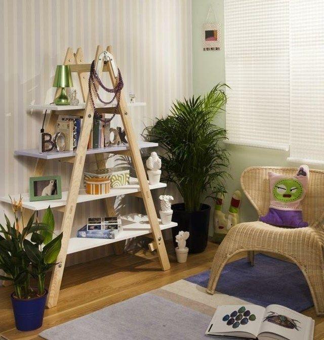 Holz Leiter Wandregal System Wohnzimmer coole Ideen Ideen rund ums - wohnzimmer ideen mit holz