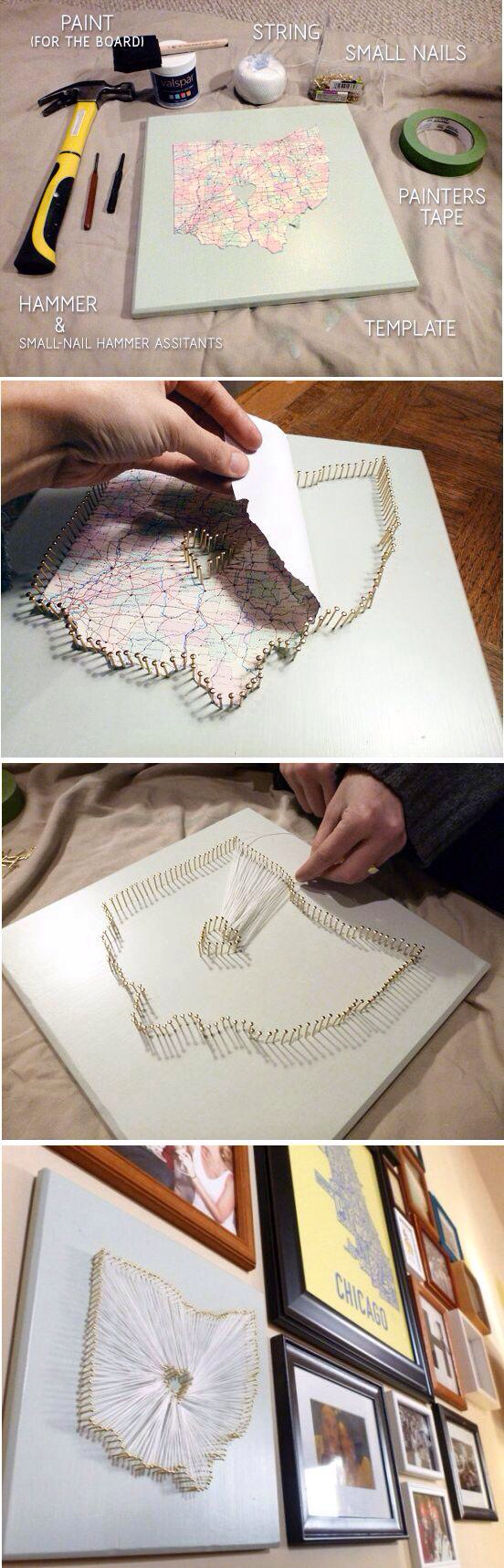 How to make a string map, how cool! | do it yourself (: | Pinterest ...