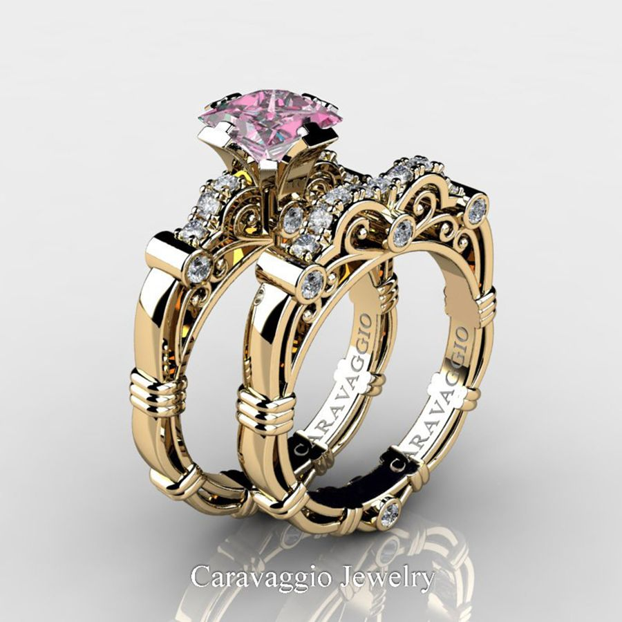 2d1075d3f Art Masters Caravaggio 14K Yellow Gold 1.25 Ct Princess Light Pink Sapphire Diamond  Engagement Ring Wedding Band Set R623PS-14KYGDLPS   Caravaggio Jewelry