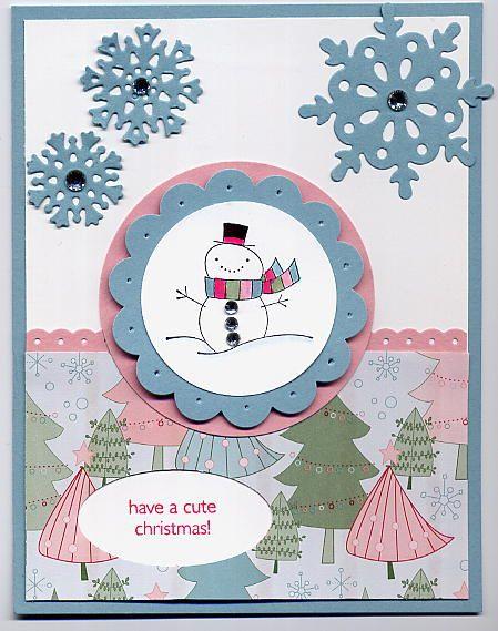 Cute Snowman Christmas card Handmade cards- Christmas Pinterest