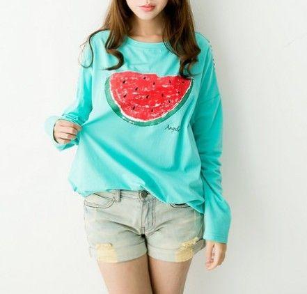 2013 otoño patchwork de sandía sueltas de impresión de larga camisetas manga de la camisa básica en de en Aliexpress.com