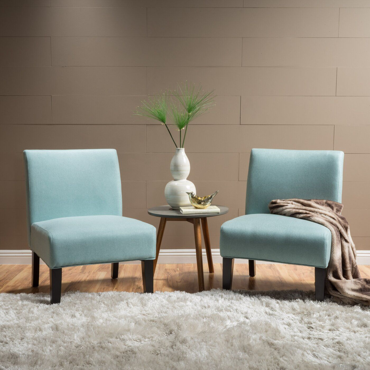 Yokota 22 5 Slipper Chair Accent Chair Set Accent Chairs Blue Accent Chairs #turquoise #living #room #chairs