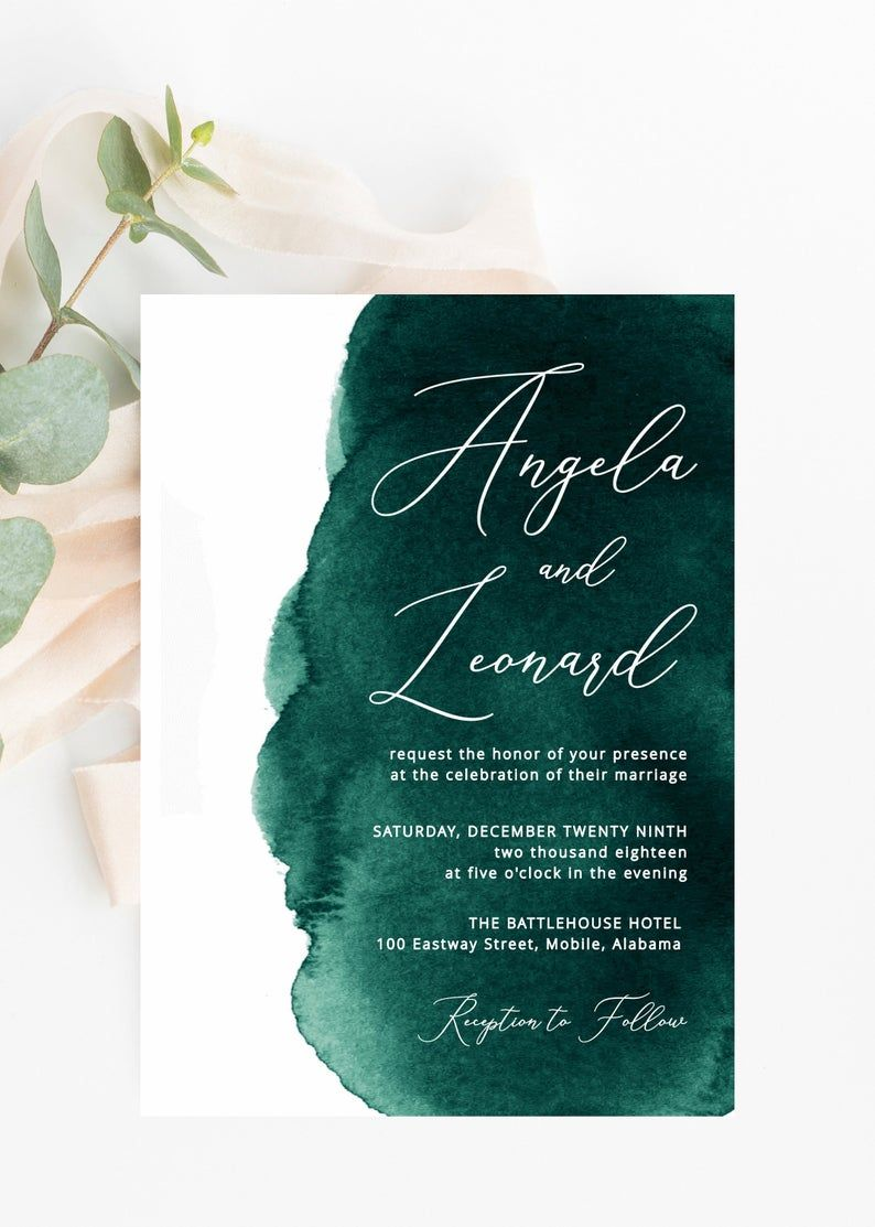 Emerald Green Watercolor Wedding Invitations Printable Wedding Template Instant Pdf Download Editable Invitation Suite Modern Invite In 2020 Watercolor Wedding Invitations Printable Wedding Invitations Wedding Invitation Cards