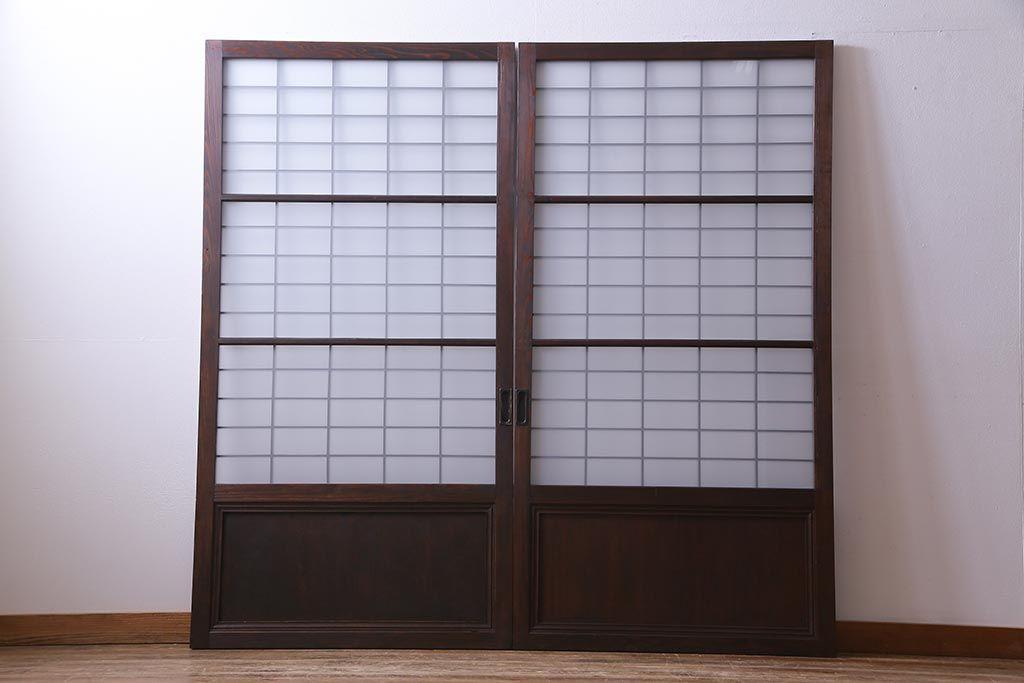 和製アンティーク 昭和初期 すりガラス越しに映る桟が風情感じるガラス