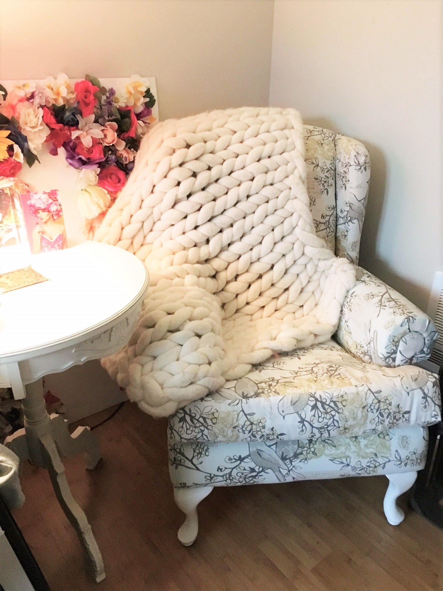 Arm Knitting kit pattern,Blanket 30x50, Merino blanket