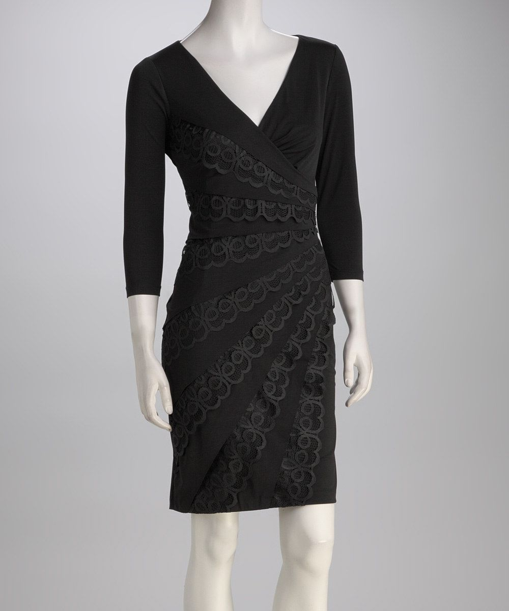 London times black lace dresses
