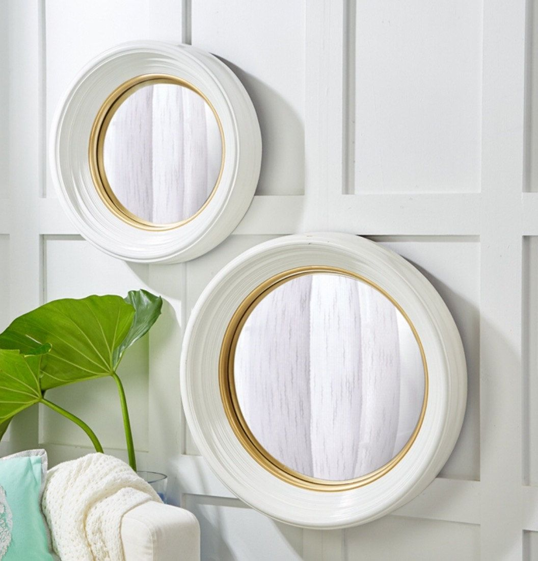 Set Of 2 White Lacquer Round Convex Glass Resin Mirrors By Thistleshomeaccents Lacquered Mirror Convex Mirror Mirror Set