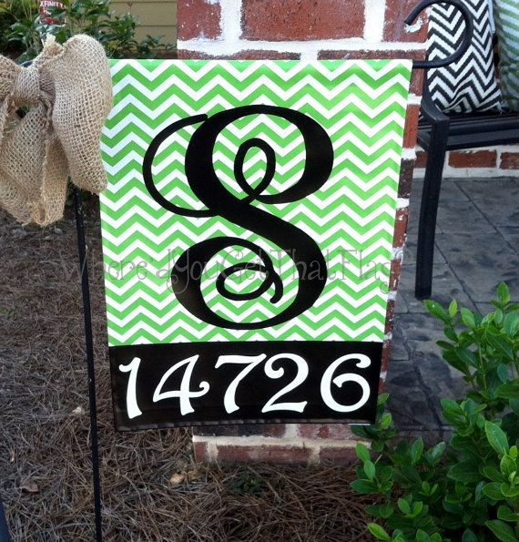 Custom Personalized Garden Sign Chevron Lime (Can be any color) on Etsy, $25.00