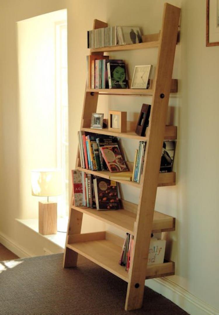 40 Impressive Bookshelf Styles Made From Repurposed Ladders Oak Shelves Shelves Oak Ladder Shelf