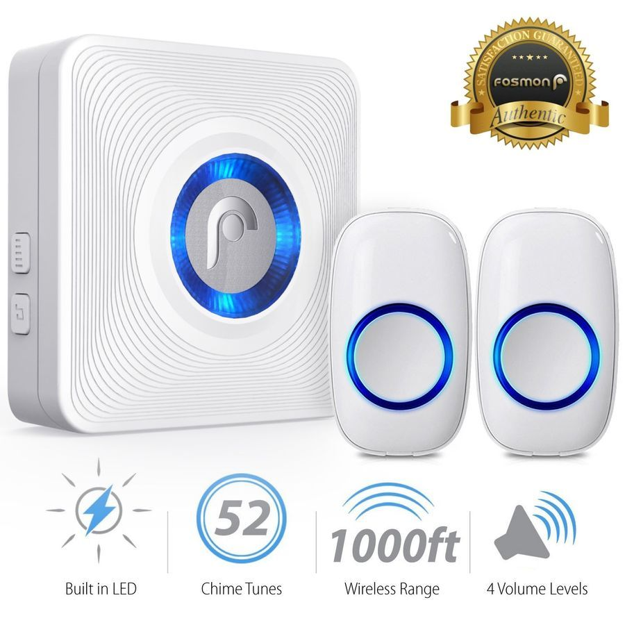 1000ft Water Resistant Wireless Doorbell Chime 1 Plugin Receiver 2 Transmitter Wireless Doorbell Doorbell Chime Wireless