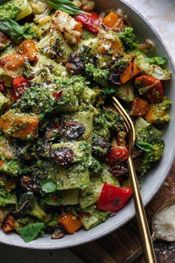 Broccoli Pesto Pasta with Roasted Vegetables - Spices in My DNA