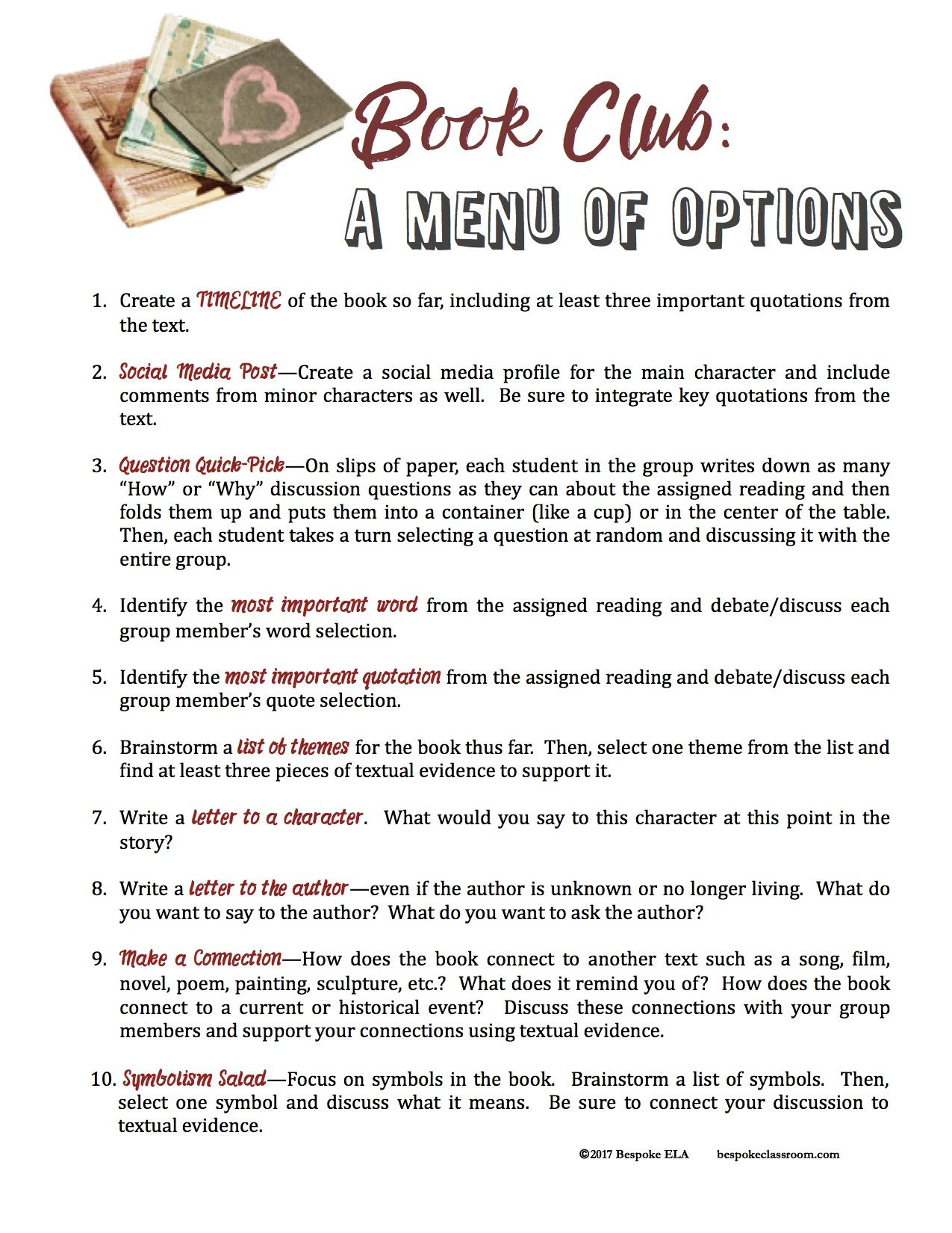 Setting Up And Assessing Book Club In Middle School And High School English Language Arts Bespoke Ela Essay Writing Tips Lesson Plans Book Club Questions High School Books Book Club