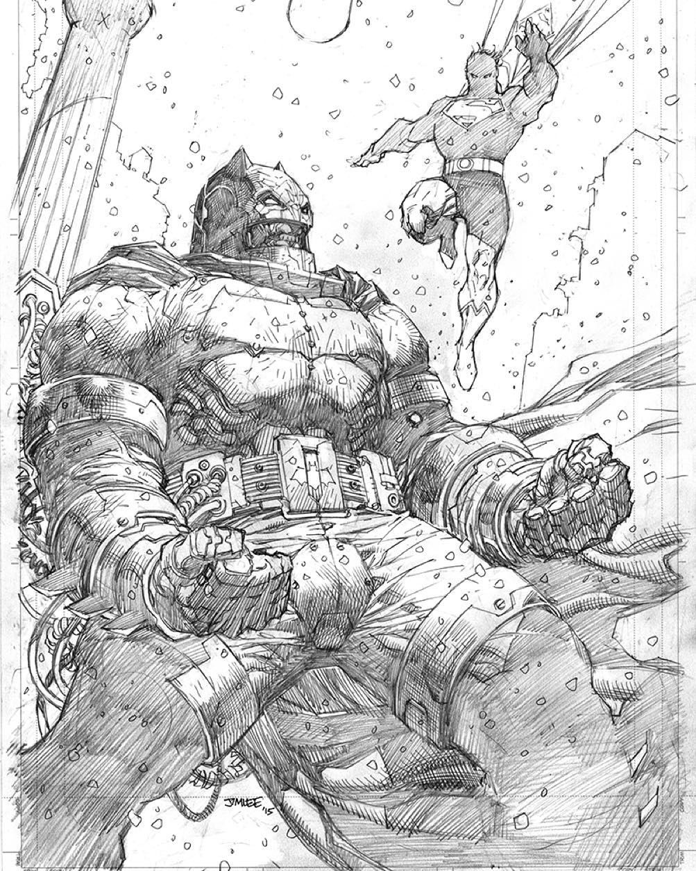 """regram @jimleeart """"More wind. Now he's talking--trying to reason with me. I can't hear him of course"""" Finished pencils for my Dark Knight 3:the Master Race #2 variant cover. #DCComics #dk3 #batman #superman #pencils #jimlee #cropped #crimealley #dkr #1in500 #frankmiller #brianazzarello #andykubert #december"""