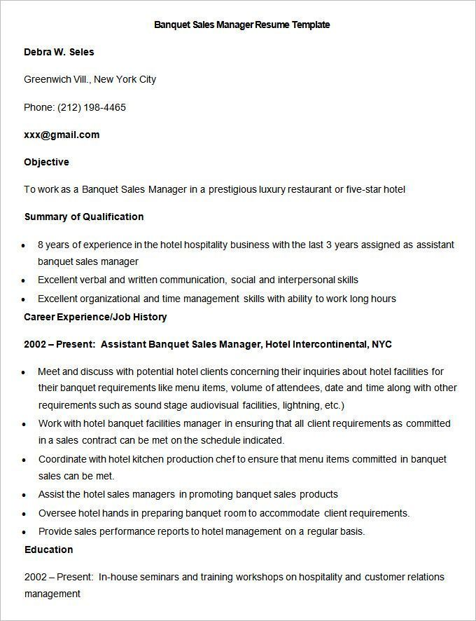 Resume Objective For Sales Sample Banquet Sales Manager Resume Template  Write Your Resume .