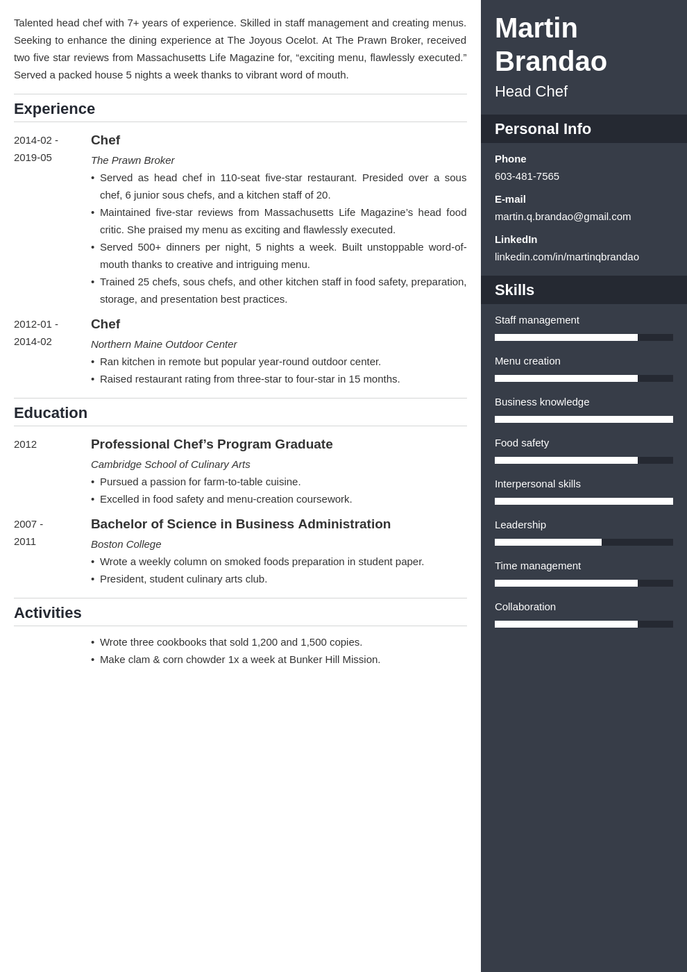 culinary resume example template enfold in 2020 Resume