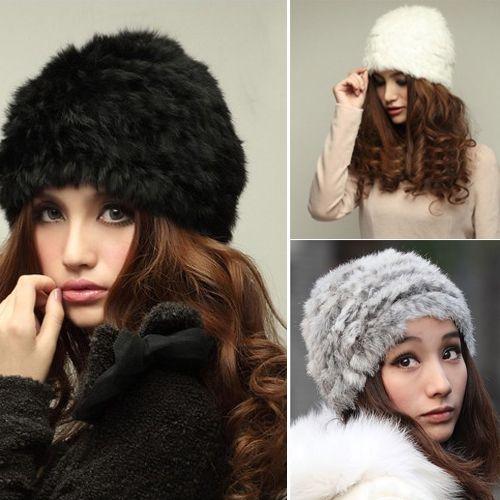 ca0e29391 Details about New Women Fluffy Russian Cossack Rabbit Fur Knit Hat ...