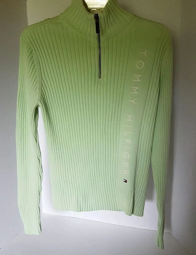 Womens Tommy Hilfiger Embroidered Green Long Sleeve Turtleneck Zipper Sweater L | eBay