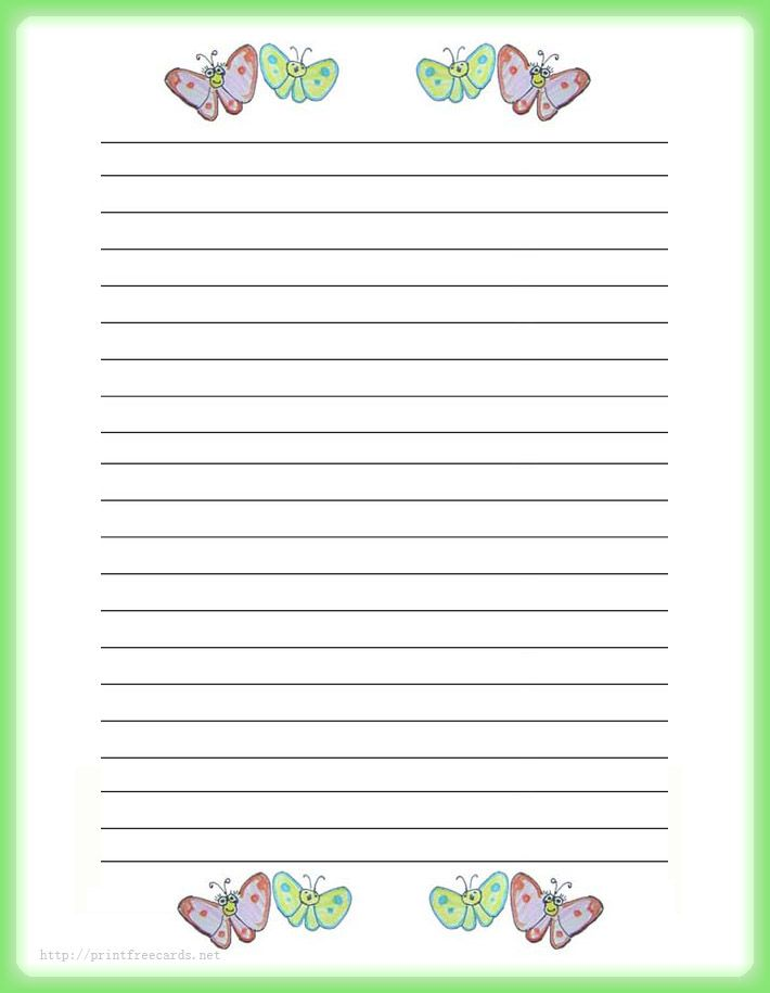 Puppy And Butterfly Free Printable Kids Stationery, Free Printable Writing  Paper For Kids, Regular Lined Writing Paper  Free Printable Lined Writing Paper