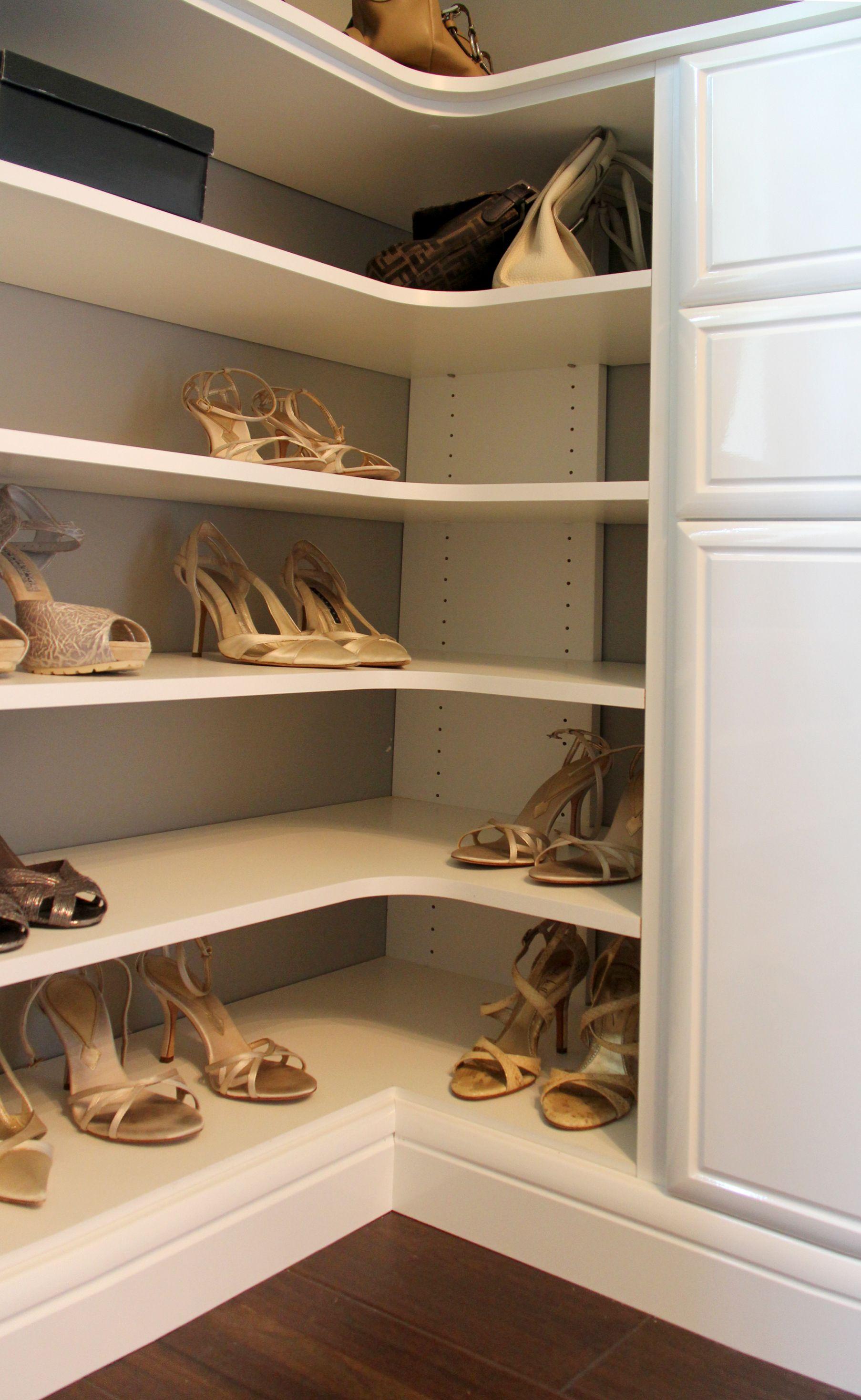 Practical Shoe Storage Odd Corner Under A Window No Problem Turn It Into A Fashionable Display Of Your Be Custom Closet Design Closet Designs Closet Design