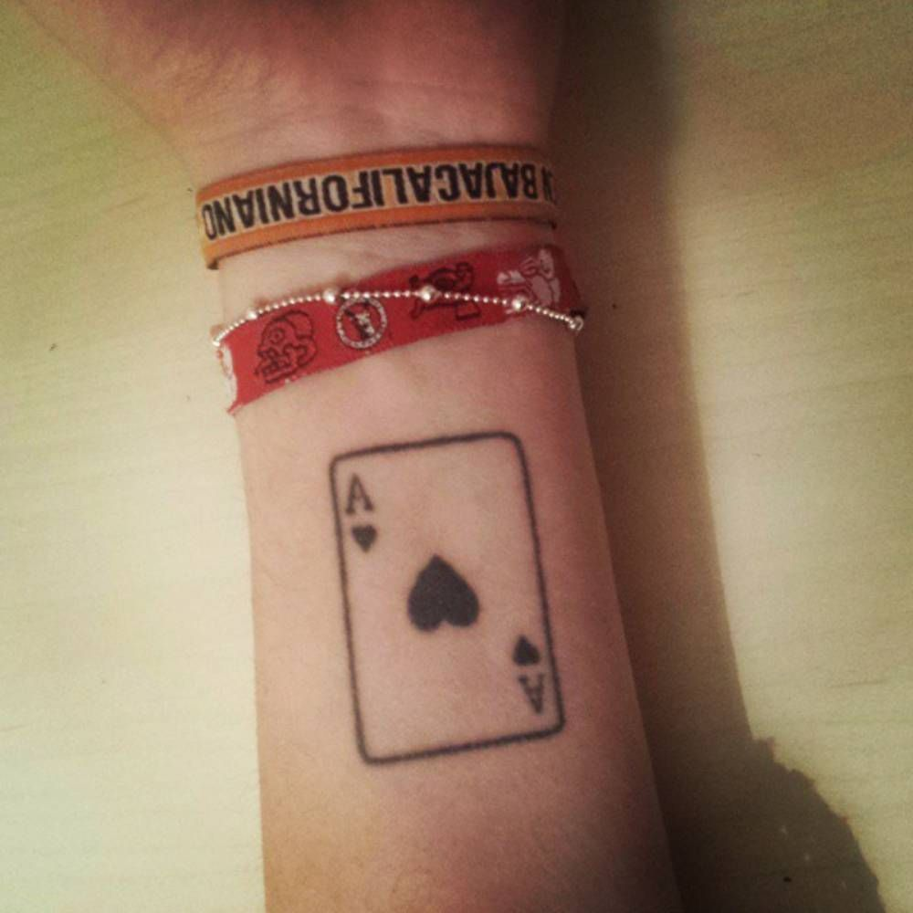 0a140a62f Small forearm tattoo of the ace of hearts card on Sara. | Art | True ...