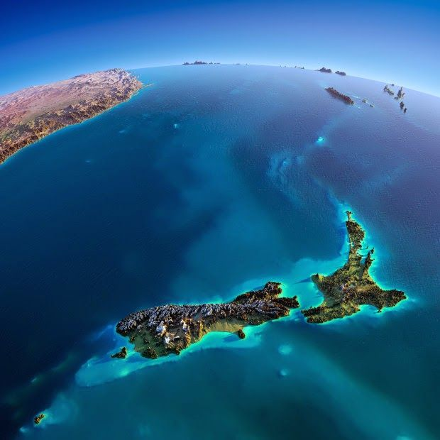 New Zealand. These interesting relief maps have been created by Anton Balazh with elements furnished by NASA
