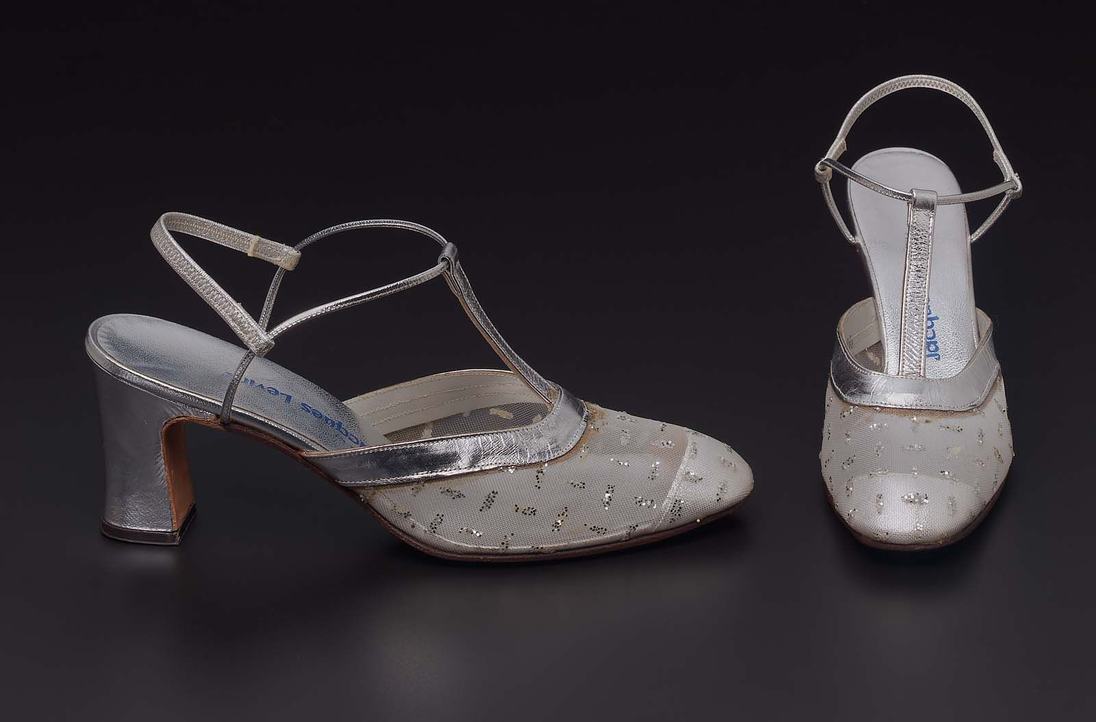 1968-1972, America - Slippers - Nylon straw woven, silvered leather, mirrored sequins, elastic, and leather sole