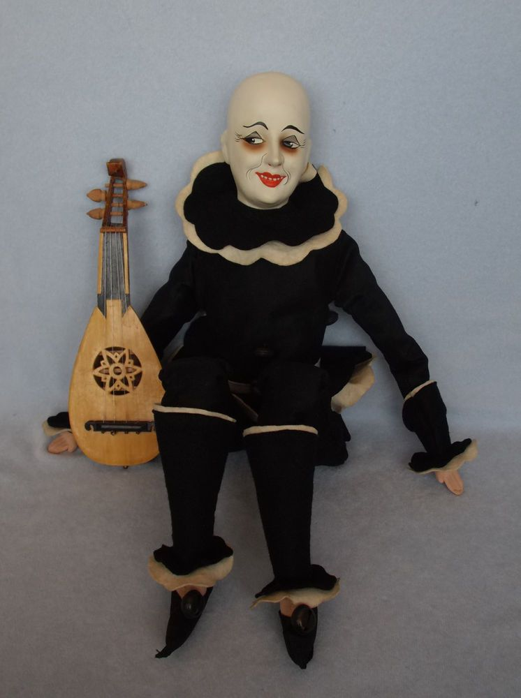 "Antique 25"" Composition Swivel Head Pierrot Boudoir Bed Doll Felt Clown Mandolin"