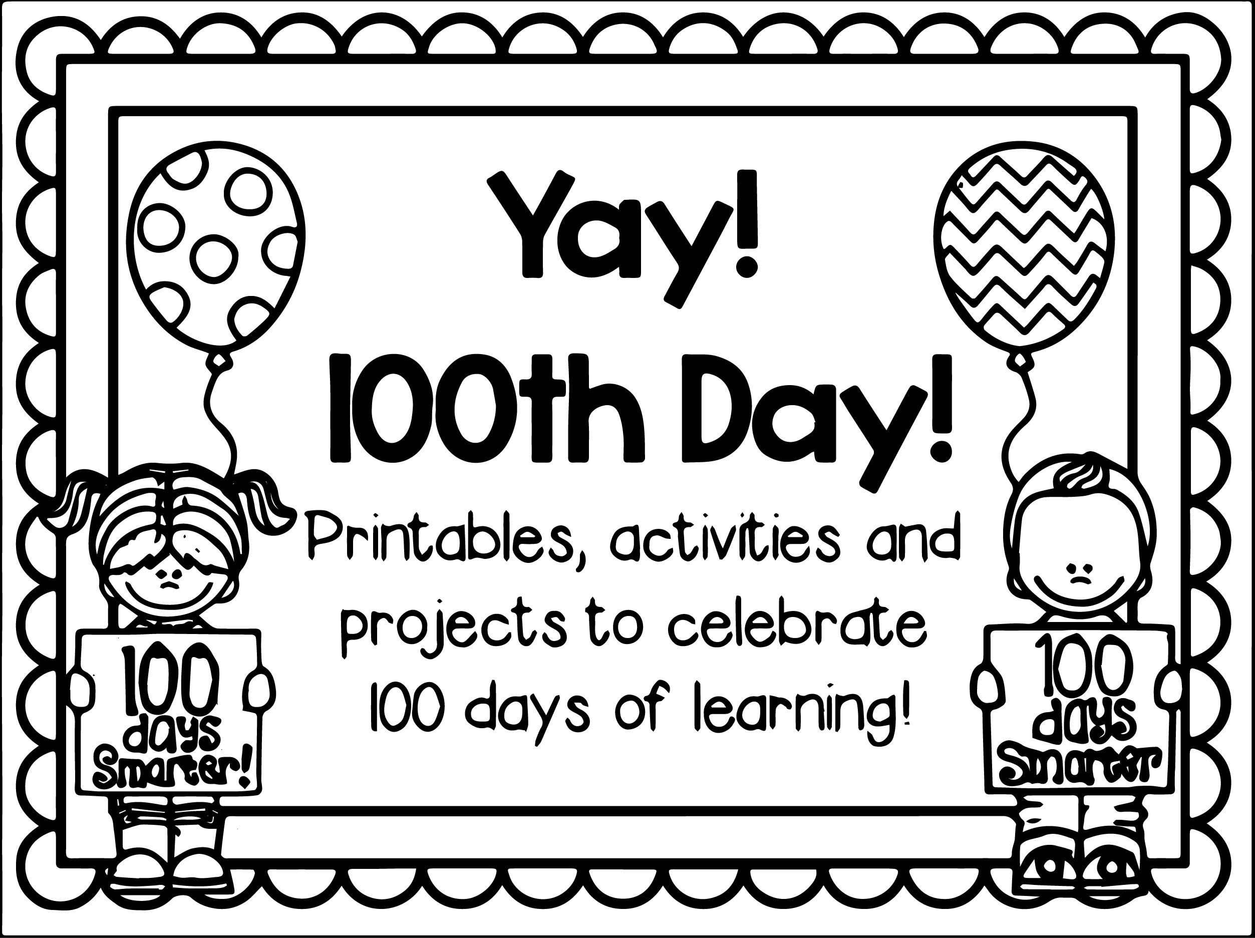 Nice 100th Day Of School Yay Coloring Page 100 Days Of School