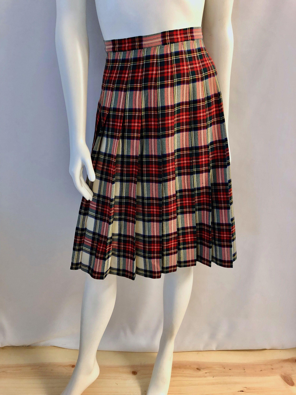 e21c4437c3 Vintage Women's 60's/70's White, Tartan, Plaid, Pleated, Wool Blend, Skirt  (S) by Freshandswanky on Etsy