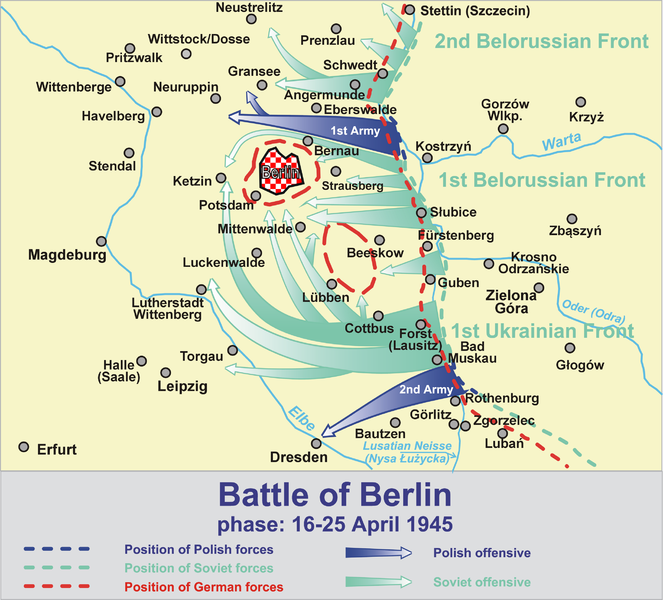 map of the battle of berlin phase of 16 25 april 1945 the soviet offensive into central germanywhat later became east germanyhad two objectives