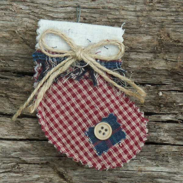 These primitive homespun Christmas ornaments are handmade from 100 ...