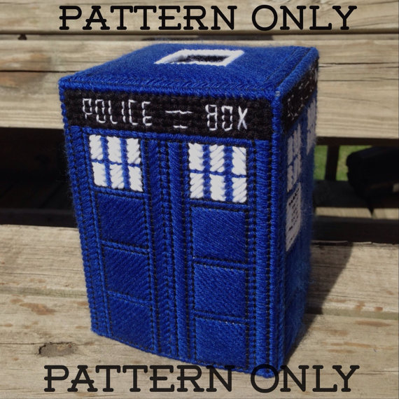 Pattern For Tardis Inspired Blue Police Box Tissue Box Cover Not